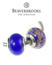 Pair of Genuine BEAVERBROOKS  sterling silver ROYAL BLUE MURANO charm beads