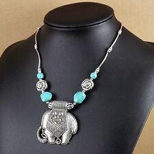 Bohemian Elephant Pendant Necklace Tibetan Silver Vintage Turquoise Women girl