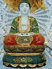 ANTIQUE JAPANESE PORCELAIN KUTANI / SATSUMA LARGE BUDDHA FIGURINE LAMP BASE