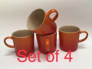 Le Creuset Stoneware Ceramic Orange 12 oz. Coffee Tea Mug Cup Set of 4 Brand New
