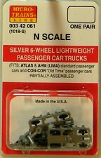 NEW Micro-Trains 00342061 Silver Passenger Trucks Lightweight 6 Wheel 1 Pr