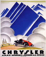 POSTER CHRYSLER AMAG AUTOMOBIL ZURICH SWITZERLAND ALPS VINTAGE REPRO FREE S/H