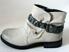 Tom Tailor Damen Stiefeletten Boots hell grau used Stiefelband Gr. 40