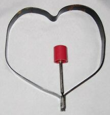 "Metal 4 1/2"" Black Heart Cookie Cutter Pancake Art Mold w Red Handle"