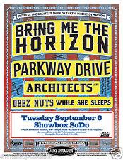 BRING ME THE HORIZON / PARKWAY DRIVE 2011 SEATTLE CONCERT TOUR POSTER -Metal