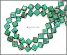 "15"" Turquoise Flat  Square Rhombus Beads 7mm #82139"