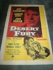 DESERT FURY(R-58)BURT LANCASTER ORIG 1SHEET POSTER
