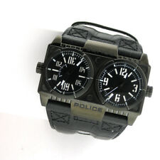 Police Dominator PL-12899XSB/02 Mens Watch Leather Band Dual Time