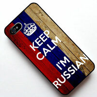 #1220 Keep Calm I'm Russian, Russia Flag Case Cover For iPhone 4S 5 5S SE