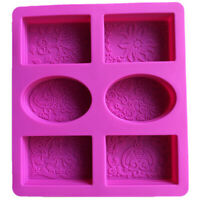Silicone Soap Mold for Soap Making 3D 6 Forms Oval Rectangle Soap Mould Han X2H4