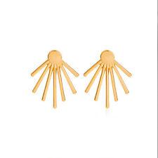 Minimal Spike Spiky Sunrays Rays Gold Plated Ear Stud Jackets Cuff Earrings