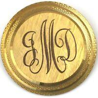 VINTAGE 14K GOLD FILLED BROOCH ETCHED MONOGRAM JMD WELLS ESTATE JEWELRY 7 grams
