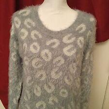APT 9 Woman's Gorgeous Soft Fuzzy Blue Gray W Silver Thread Sweater Size Large
