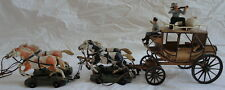 Elastolin German 1950's Toy Buffalo Bill Stage Coach 4 Horses 3 Figurines 2 Bags