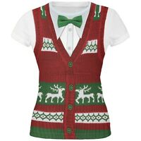 Ugly Christmas Sweater Vest All Over Juniors T-Shirt
