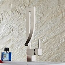 Nickel Brushed Waterfall Kitchen Sink Vessel Faucet Basin Wash Mixer Brass Tap