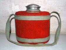 Vintage Old Rare Enamel Military Water Bottle Flask With Water Glass