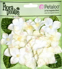 Hydrangeas IVORY 22 flower & leaf mix VELVET GLITTER 20-30mm Petaloo HYD
