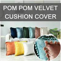Velvet POM POM Cushion Cover Ball Fringe Decorative Throw Pillow Cover 45x45cm…
