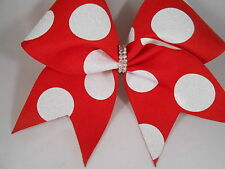 Cheer Bow Red with White Glitter Dots Minnie by BlingItOnCheerBowz