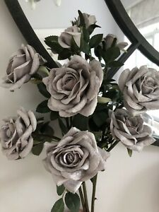 Artificial Flowers Silver grey Soft Touch Roses X 3 Long  Stem Roses  9 Heads