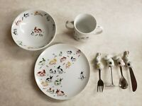 TAITU Bunny Rabbits Child's Food Set Bowl Plate Cup and 4 Utensils Made In Japan