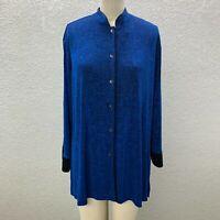 Chico's Button Up Tunic Shirt Women's XL Blue Slinky Knit Long Sleeve Casual