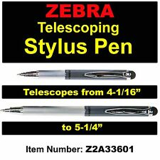 Zebra Telescopic Stylus Pen, Slate Grey Barrel, Black Ink, 1.0mm Medium Point