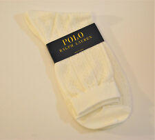 Ralph Lauren Ladies Cotton Blend Crew Socks Diamond Knit Pointelle Ivory - NEW