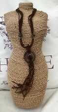 Brand New Brown Wood & Beaded Pendant Fashion Jewellery Necklace Charm Detail