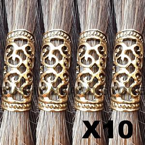 10x Gold Viking Beard Bead Dreadlock Cuff Hair Beads Jewellery Celtic tibetan
