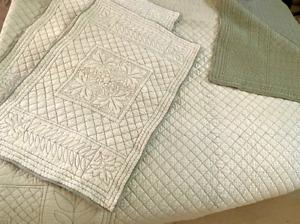 RH RESTORATION HARDWARE King Size Solid SEAFOAM Floral Quilt + 2 Pillow Shams