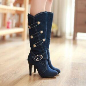 Ladies Denim Knee High Boots Stiletto High Heels Fashion Pump Round Toe Shoes