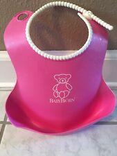 EUC Baby Bjorn Bib Plastic Food Catcher Reusable Adjustable Neck Pink