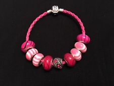 Silver Clasp Braided Pink Leather Bracelet Beads Charms for women jewellery