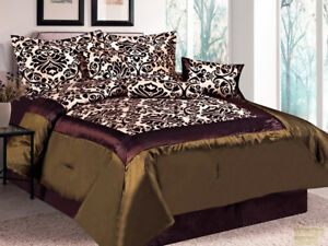 7-Pc Damask Floral Flocking Satin Comforter Set Brown Green Beige King