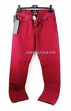 KITON NAPOLI DARK PINK JEANS PANTS SIZE 32 US 100% COTTON NEW $995 ITALY # 45