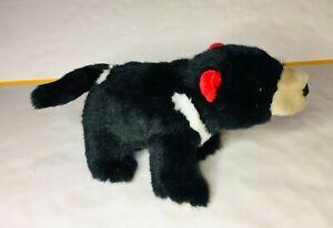 Wild Republic Bear Plush Black and White, Red Ears Soft Cuddly Length 22cm