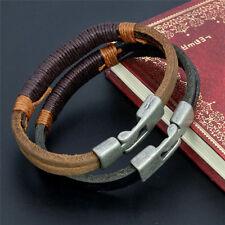 Vintage Retro Mens Surfer Hemp Wrap Leather Wristband Bracelet Cuff Black Brown