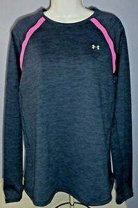 Women's Under Armour Cold Gear Fitted Blue Long Sleeve Thumbhole Shirt XL