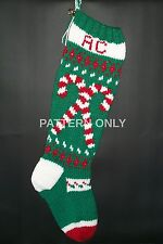 Pattern Only Hand Knitted Candy Canes Christmas Stocking