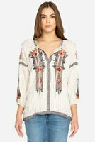 Johnny Was Workshop Aaliah Peasant Blouse  Embroidered New Boho Chic W17218