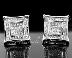 14k White Gold gp Mens Custom 3D Kite Simulate Diamond out Hip Hop iced Earrings