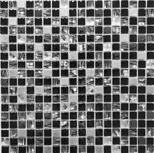 Mosaico Piastrella Vetro Acciaio traslucido Cristallo nero bagno 92-0304|1foglio