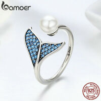 BAMOER Retro Authentic S925 Sterling Silver Ring Mermaid tail For Women Jewelry