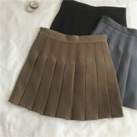 Women Pleated A-Line Mini Skirt Tennis School High Waist Flared Short Dress Grey