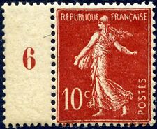 "FRANCE N° 135a NEUF** Variété ""TYPE I ROUGE FONCÉ ATTENANT A ""PONT"" NUMÉROTÉ 6"""