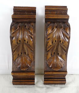 """Antique French Carved Walnut Wood Pair Corbel - Pillars-Brackets Salvage 10.6""""T"""