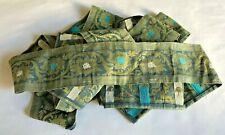 VINTAGE SARI BORDER  AQUA /GOLD TRIM EMBROIDERY FOR SEWING & CRAFT  5 YR