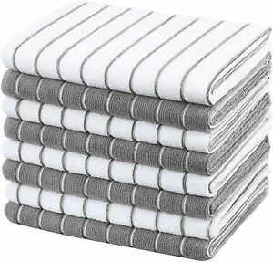 Microfibre Tea Towels - Pack of 8 (Stripe Designed Grey and White)